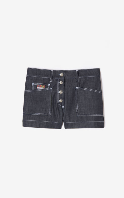 NAVY BLUE Denim shorts for unisex KENZO