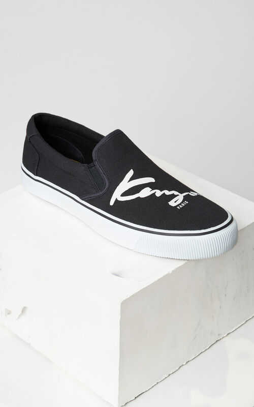 BLACK KENZO Signature slip on for men