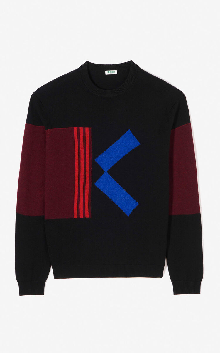 BLACK Colour block K jumper for men KENZO