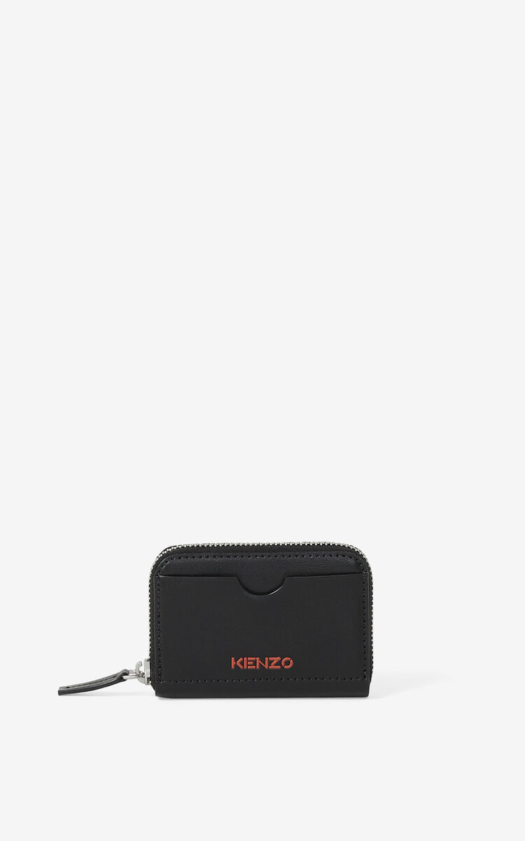BLACK KENZO Cadet zipped leather coin purse for women