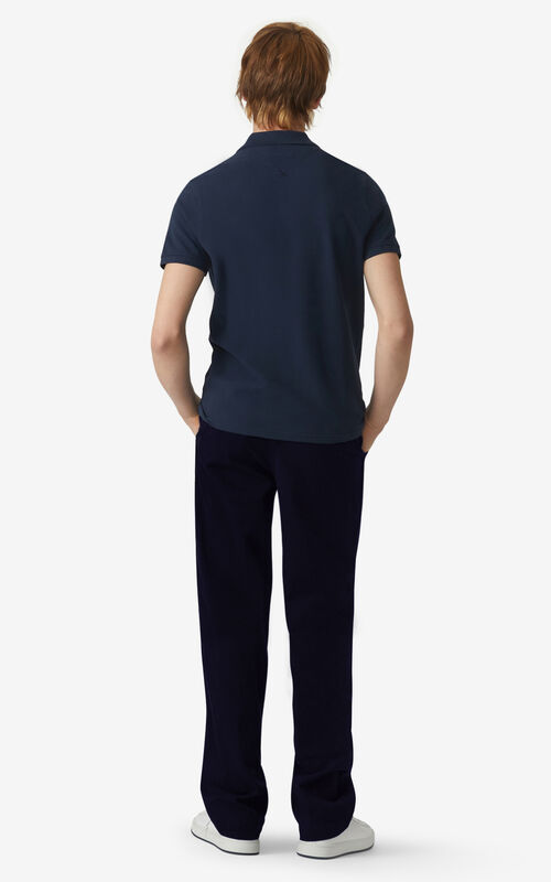 NAVY BLUE Tiger Crest polo for men KENZO
