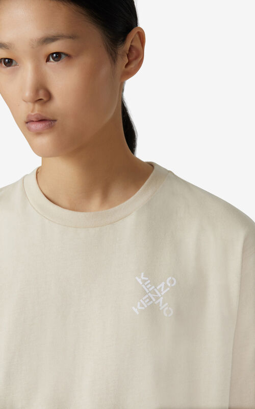 CREAM KENZO Sport 'Little X' mesh t-shirt for women