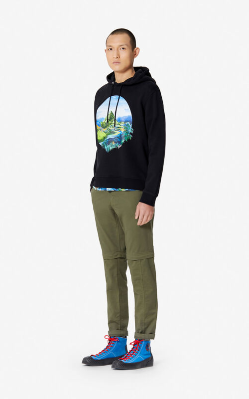 BLACK 'Painted Landscape' hoodie for women KENZO