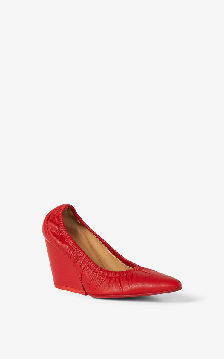 MEDIUM RED WRINKLE leather court shoe for women KENZO