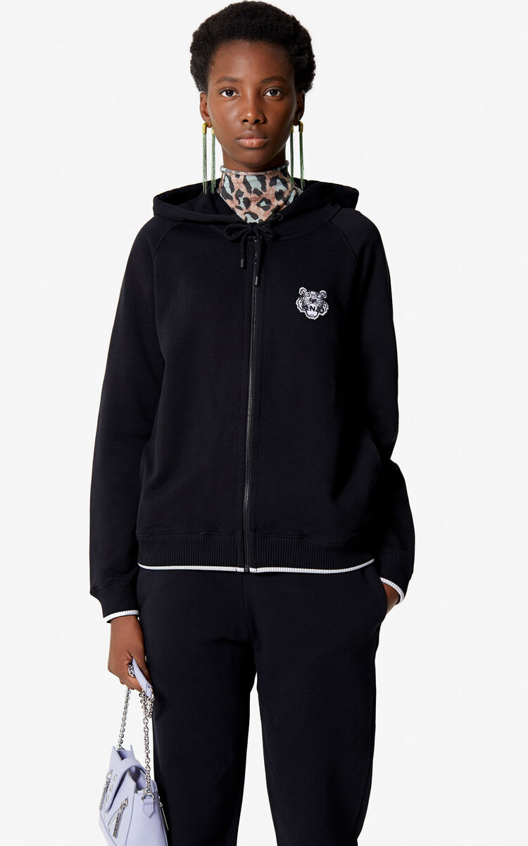 BLACK Tiger Crest Zipped Hoodie for women KENZO