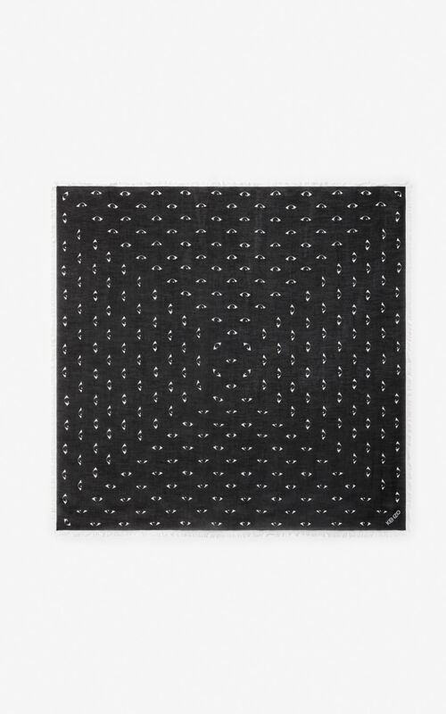 BLACK Large multi eye scarf  for unisex KENZO