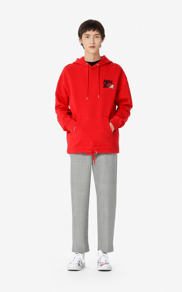 MEDIUM RED 'Chinese New Year Capsule' 'Kung Fu Rat' hooded sweatshirt for men KENZO
