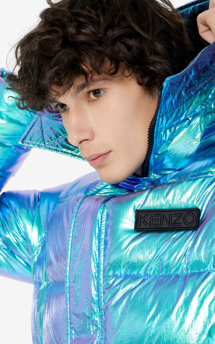 TURQUOISE Hooded quilted jacket for men KENZO