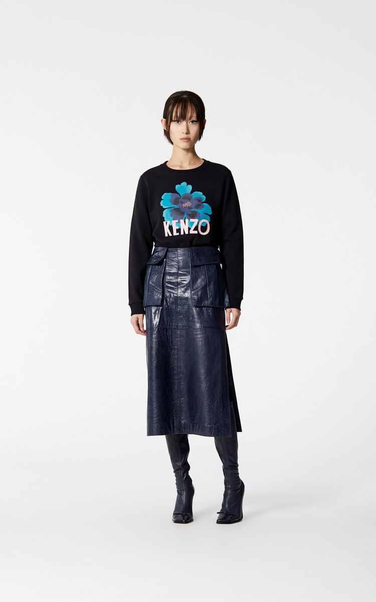 BLACK 'Indonesian Flower' sweatshirt for women KENZO