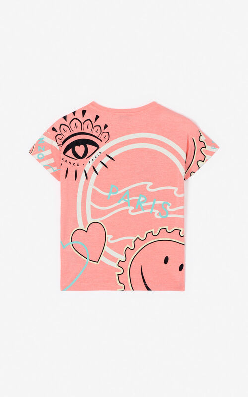 DEEP PINK Multi-icon 'Cali Party' T-shirt for unisex KENZO