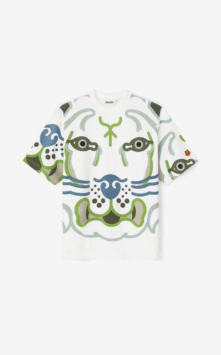 WHITE K-Tiger loose T-shirt for men KENZO