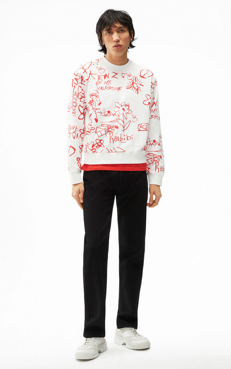 WHITE Printed sweatshirt for women KENZO