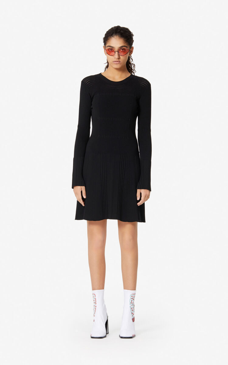 BLACK Openwork knit dress for women KENZO