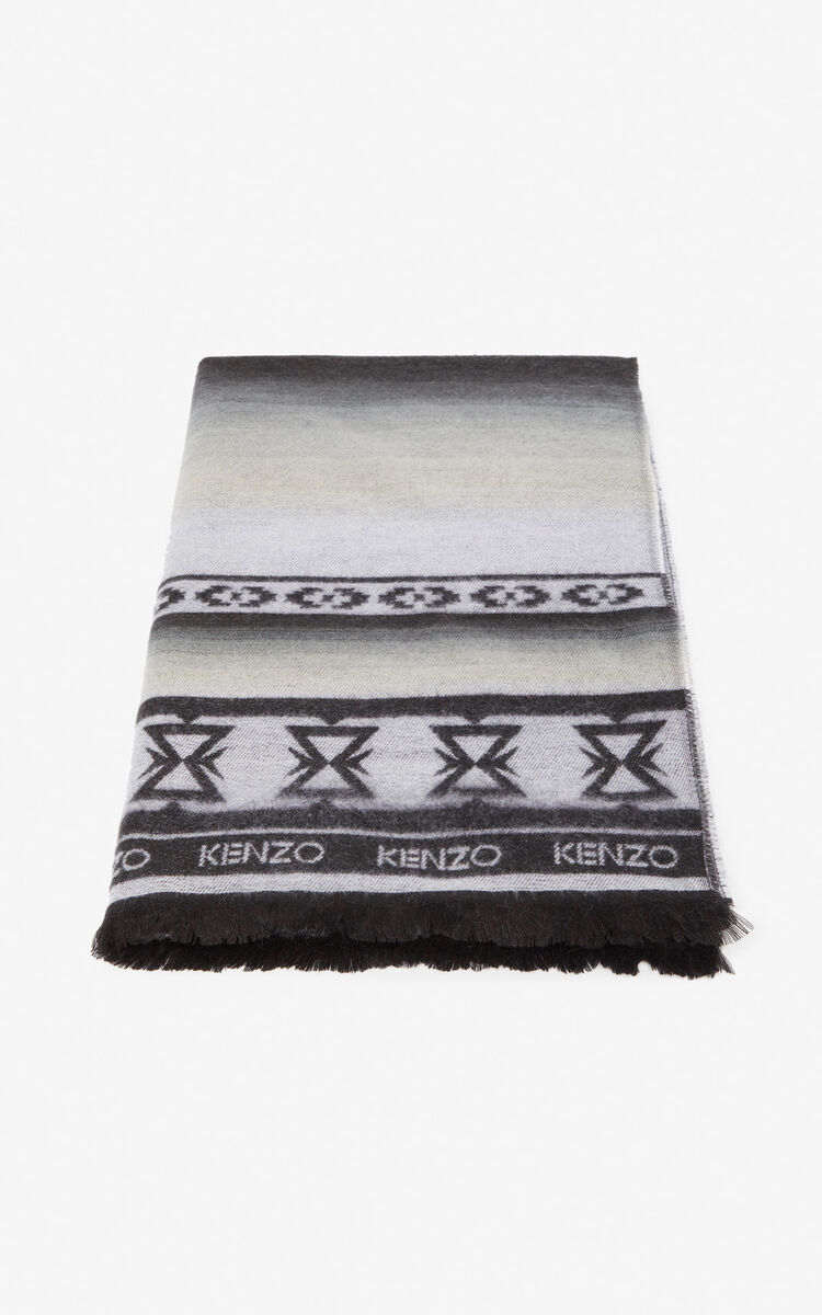 BLACK 'Himalayan' Tiger scarf for unisex KENZO