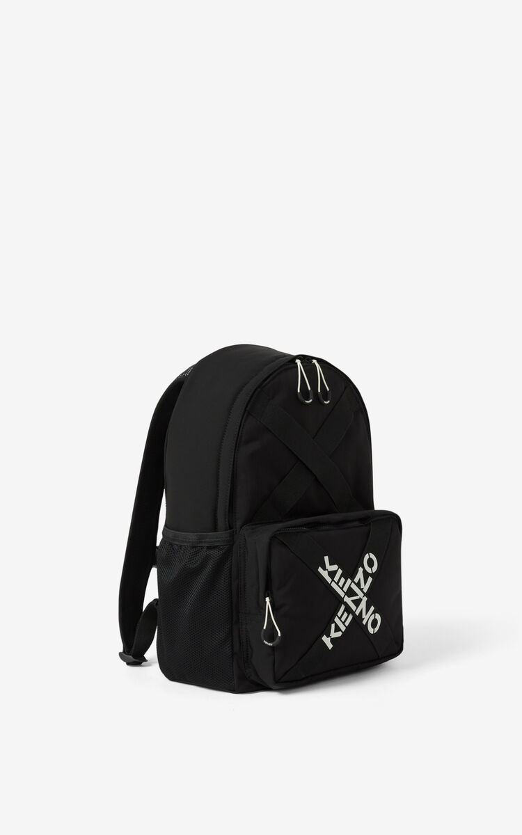BLACK KENZO Sport backpack for unisex
