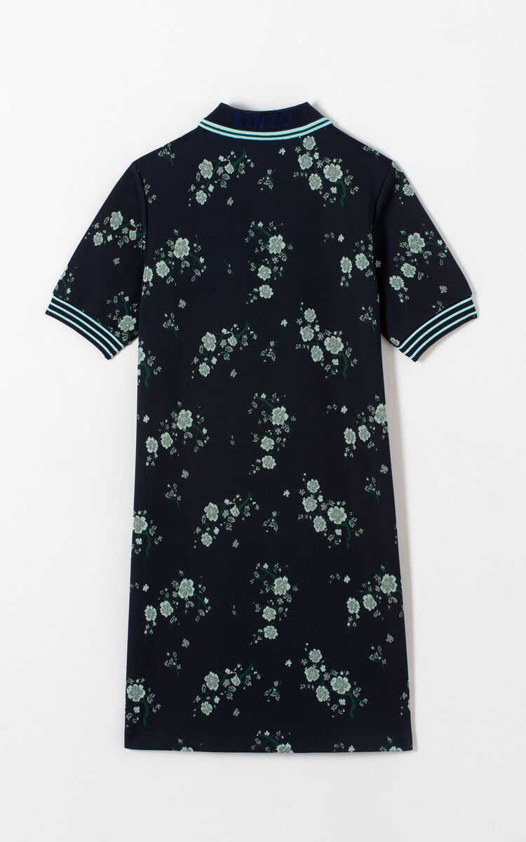 NAVY BLUE 'Cheongsam Flower' Polo dress for women KENZO
