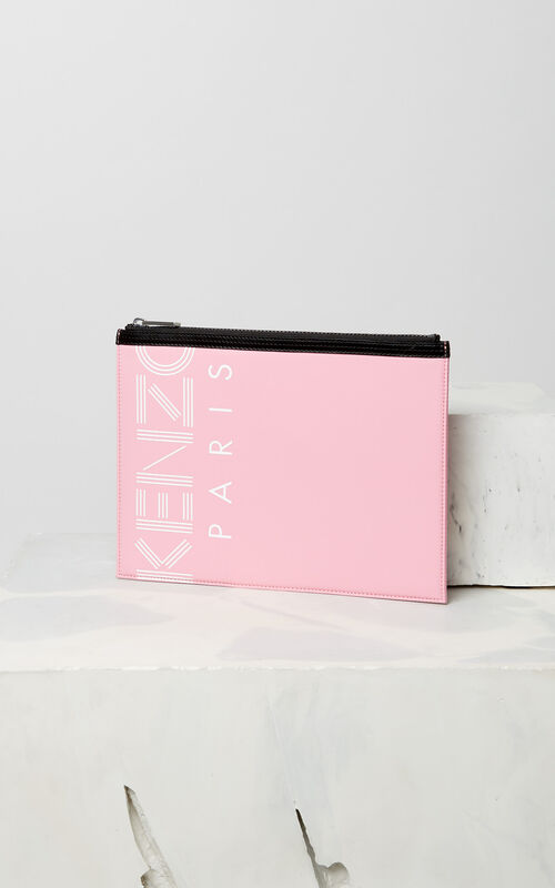 FLAMINGO PINK A4 KENZO Logo clutch for women