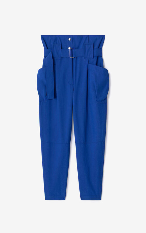 ROYAL BLUE Cropped paper bag trousers for unisex KENZO