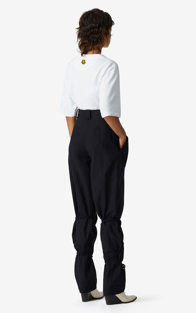 BLACK Trousers with pockets and cords for women KENZO