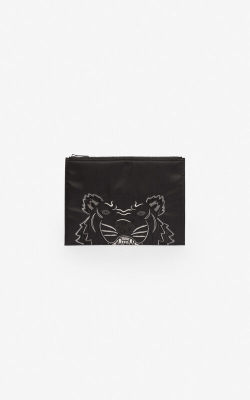 BLACK Satin A4 Tiger clutch 'Holiday Capsule' for unisex KENZO
