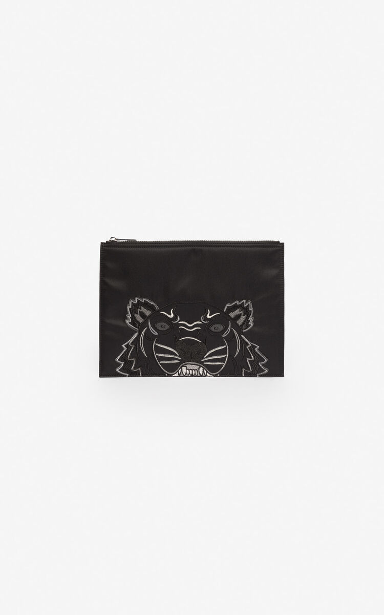 BLACK Satin A4 Tiger clutch 'Holiday Capsule' for women KENZO