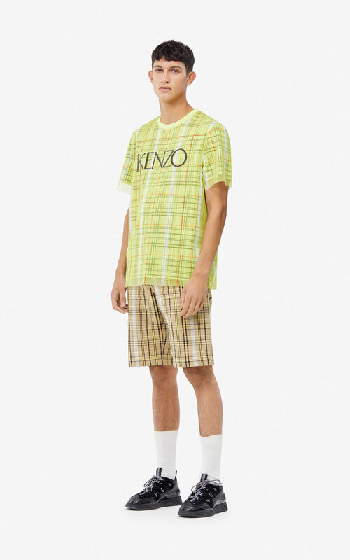 LEMON Dual material checked T-shirt for men KENZO