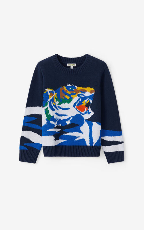 NAVY BLUE 'Ventura' Tiger Sweater for unisex KENZO