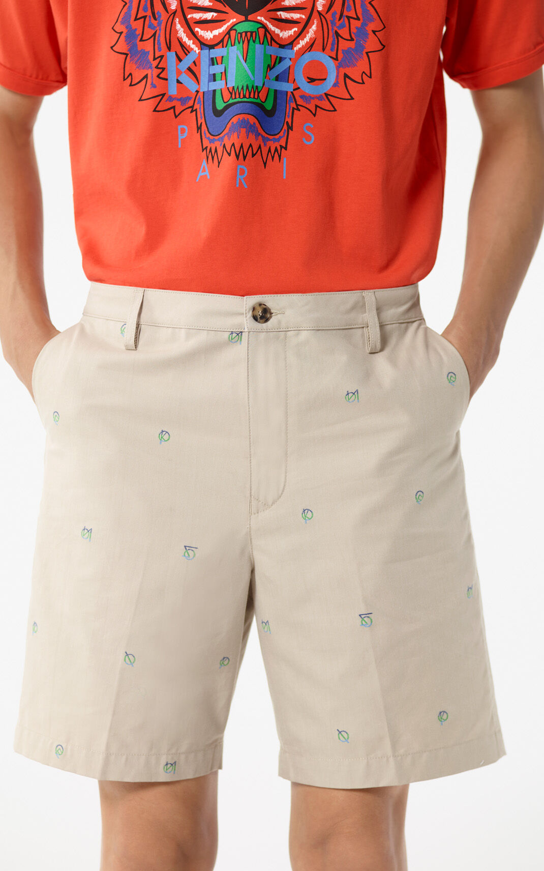 PALE CAMEL YMO' pleated bermuda shorts for men KENZO