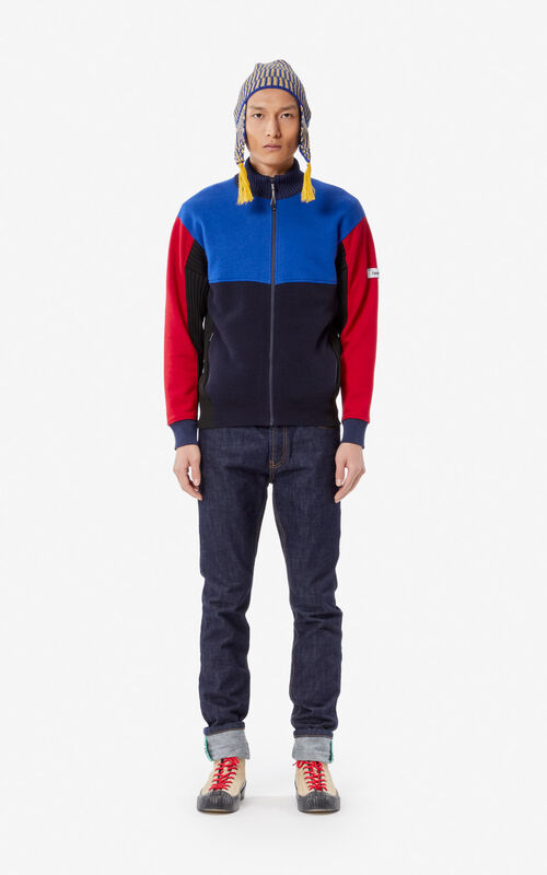 SLATE BLUE Colourblock wool jacket for men KENZO