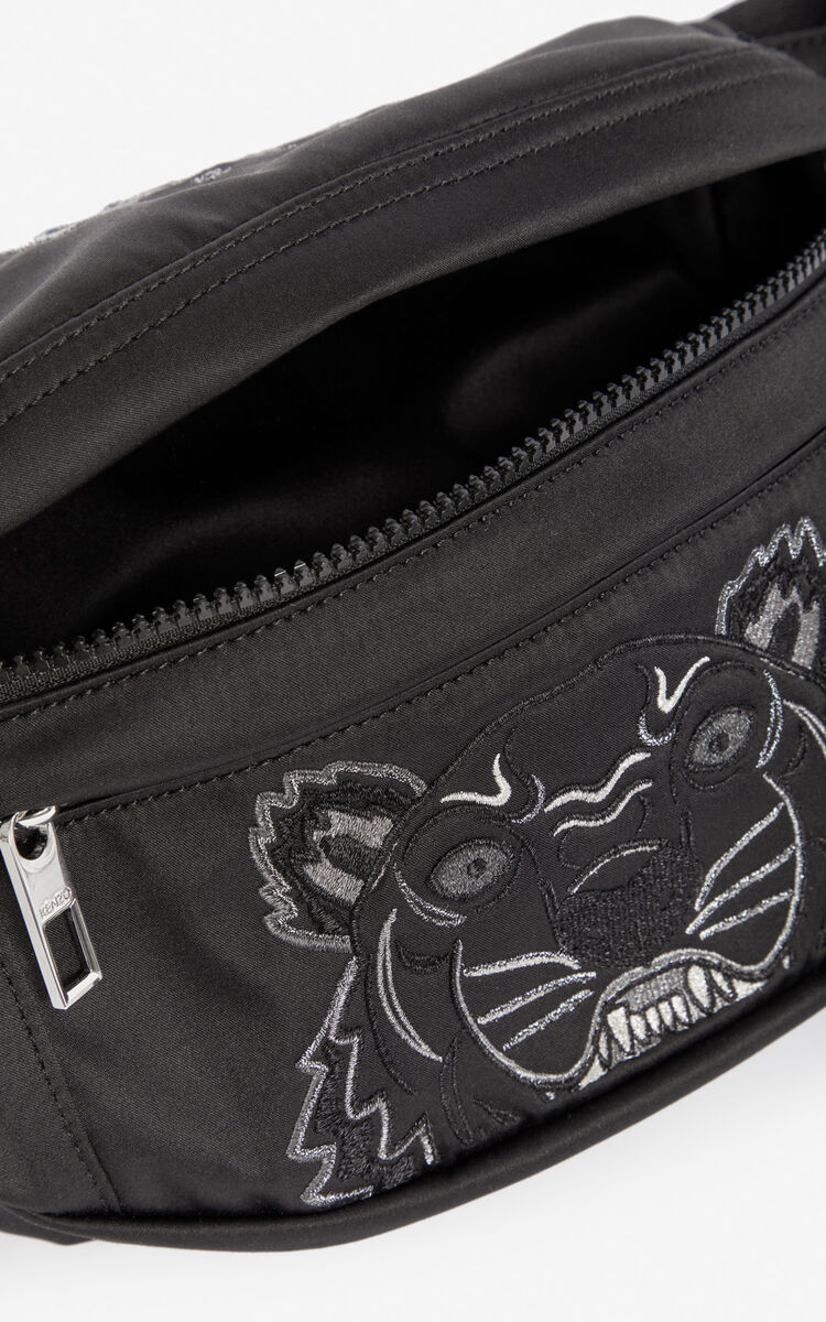 BLACK Satin Tiger bumbag 'Holiday Capsule' for women KENZO