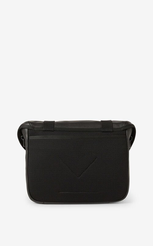 BLACK Courier small grained leather messenger bag for unisex KENZO