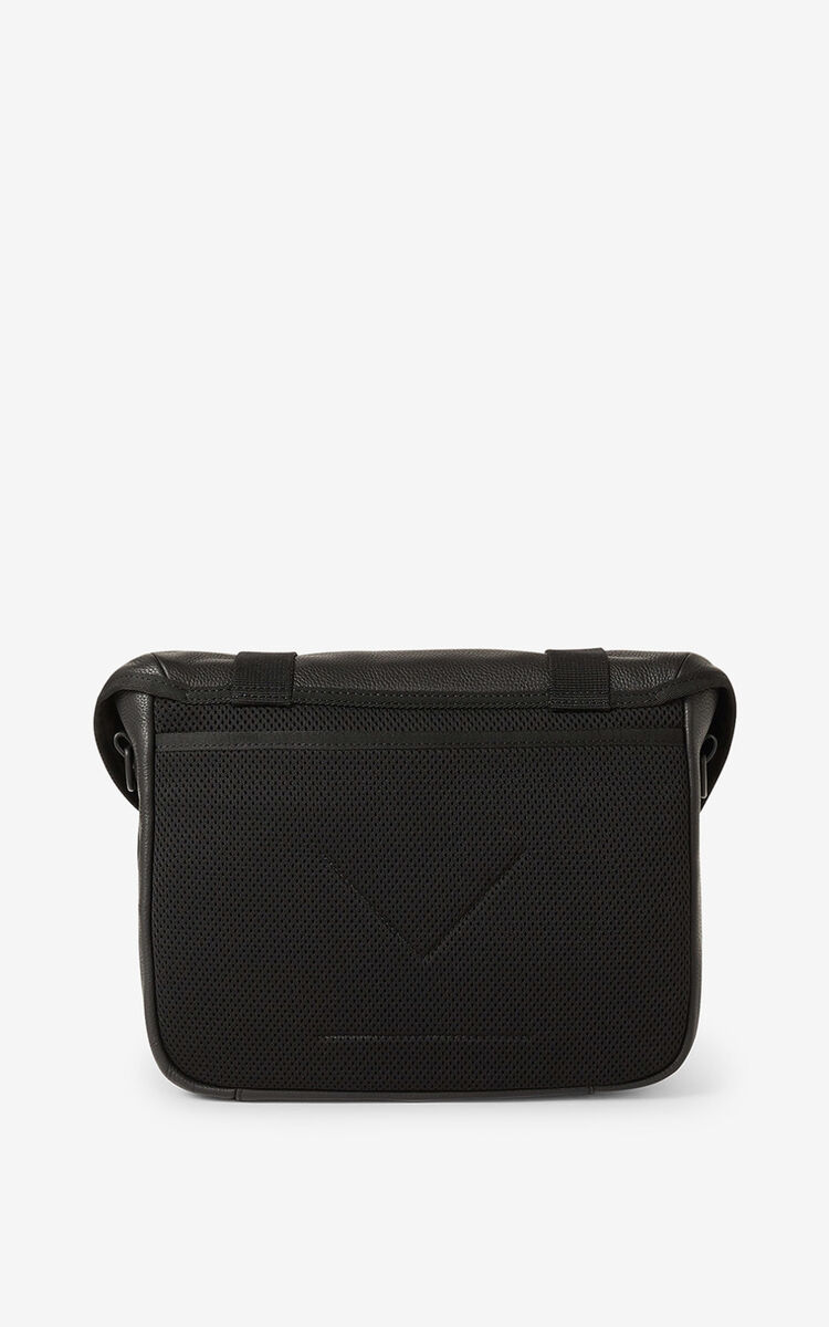 BLACK Courier small grained leather messenger bag for women KENZO