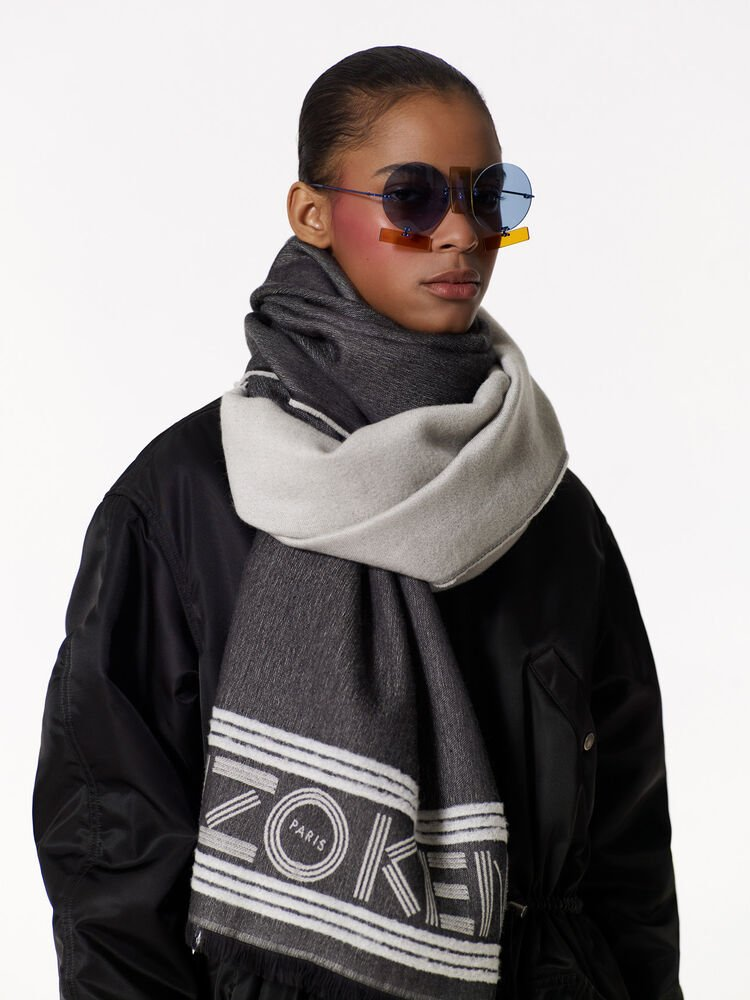 BLACK KENZO Sport Wool and Viscose Scarf for unisex
