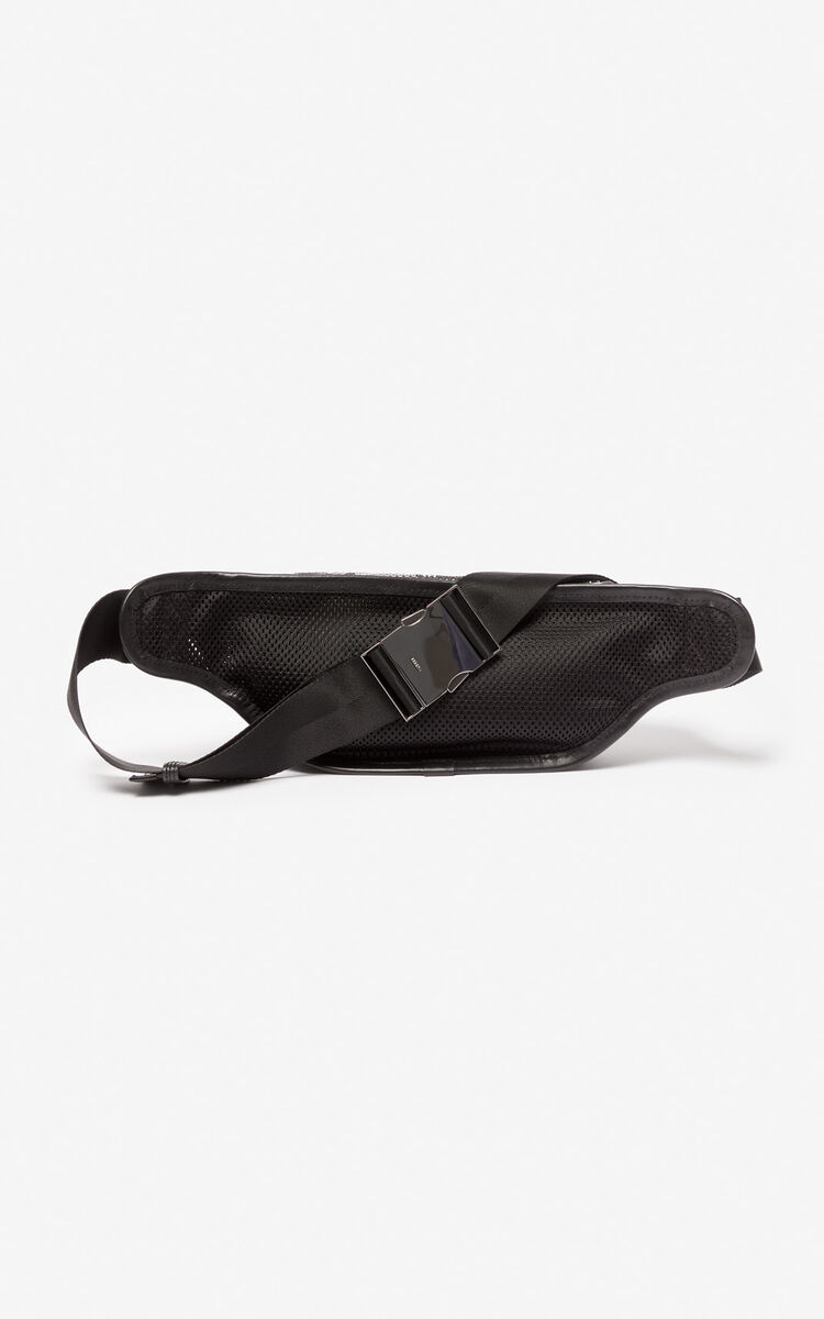BLACK KENZO mesh logo belt-bag for unisex