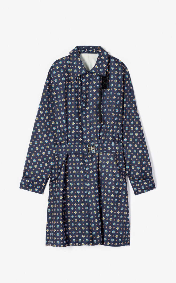 MIDNIGHT BLUE 'Médaillons' trench coat for men KENZO