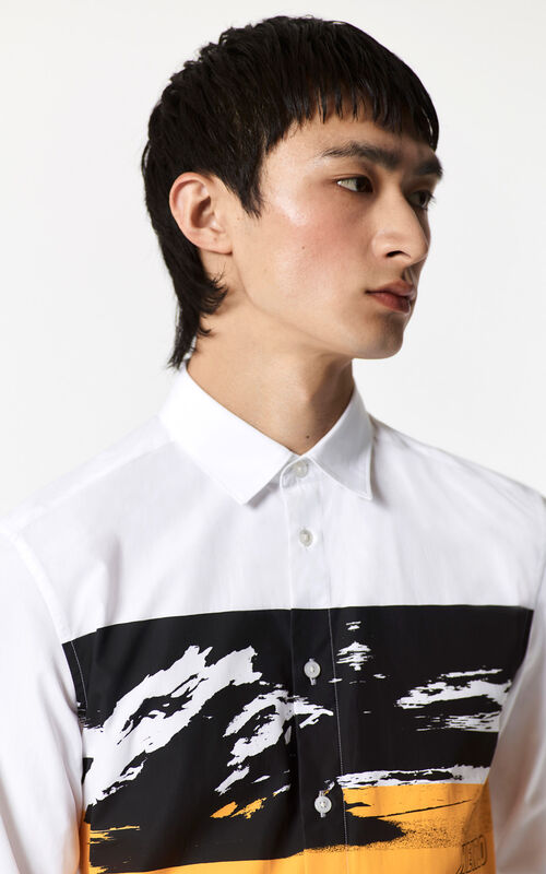 Tropical Ice Abstract Shirt, WHITE, KENZO