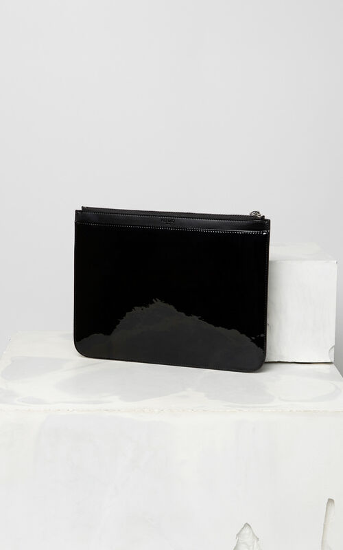BLACK A4 Tiger patent clutch bag for unisex KENZO