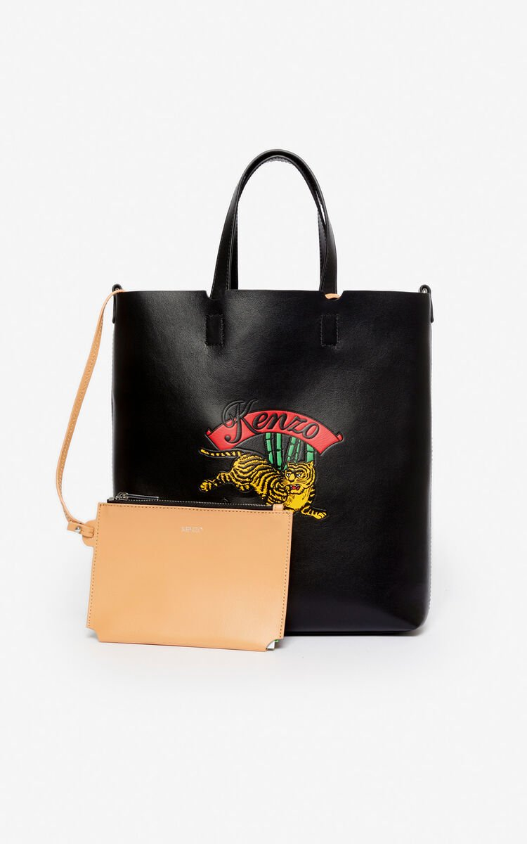 BLACK 'Jumping Tiger' small tote bag for unisex KENZO