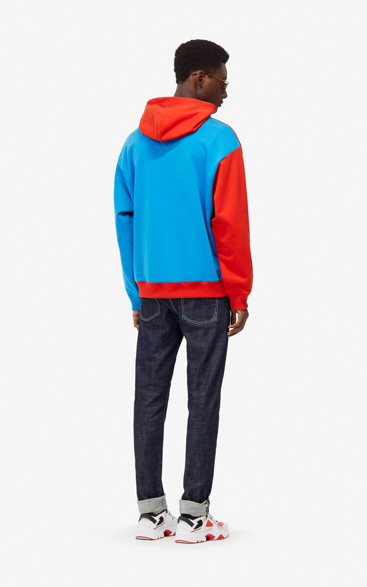 MEDIUM RED Colorblock hoodie sweatshirt for women KENZO