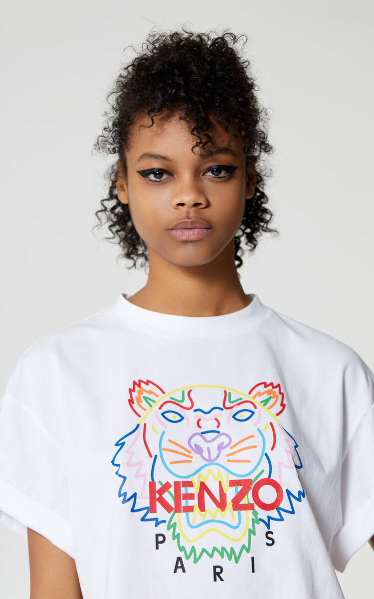 WHITE Tiger t-shirt for women KENZO