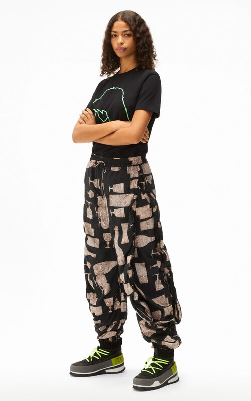 BLACK 'Cocktails' printed zipped trousers for women KENZO