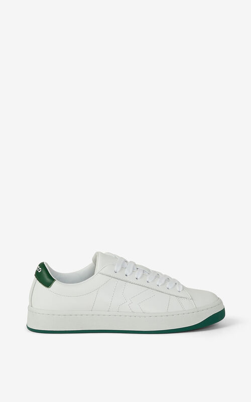 BOTTLE GREEN KENZO Kourt K Logo leather trainers for unisex