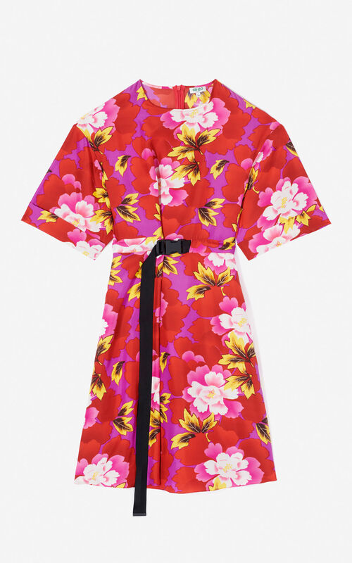 MEDIUM RED 'Indonesian Flower' dress for global.none KENZO