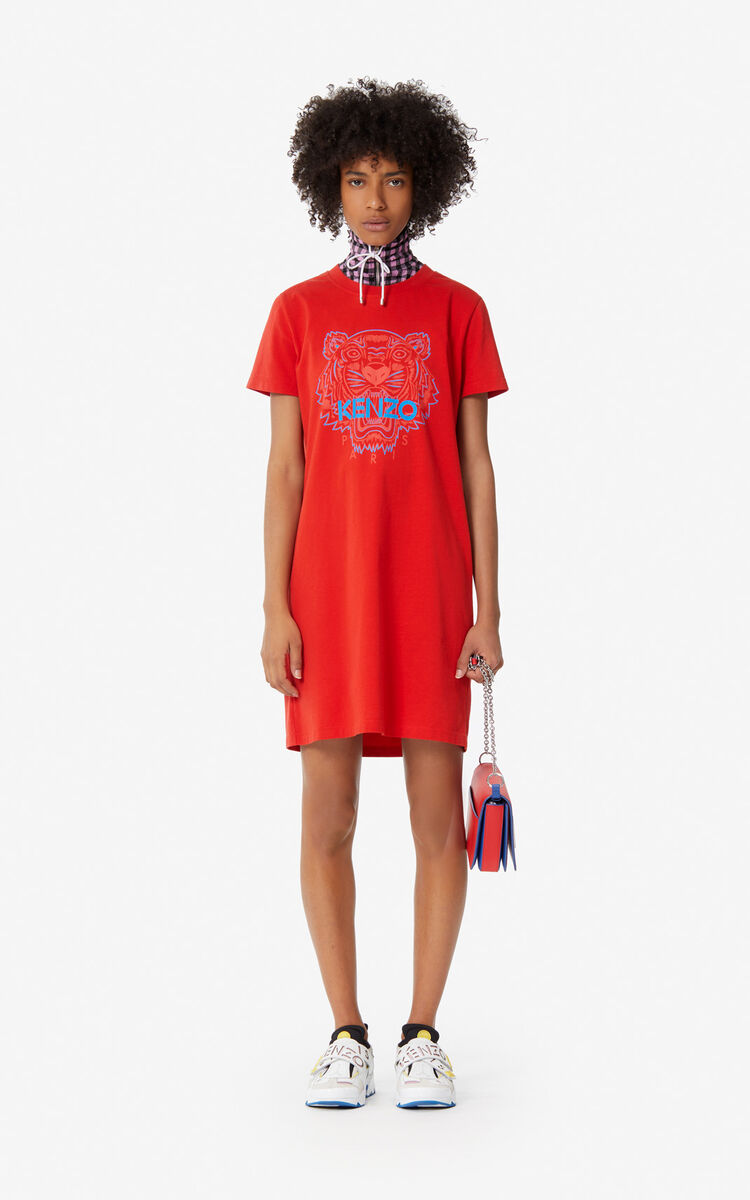 MEDIUM RED Two-tone Tiger t-shirt dress for women KENZO