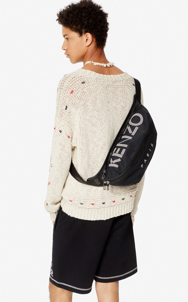 BLACK Large KENZO Logo belt bag for unisex