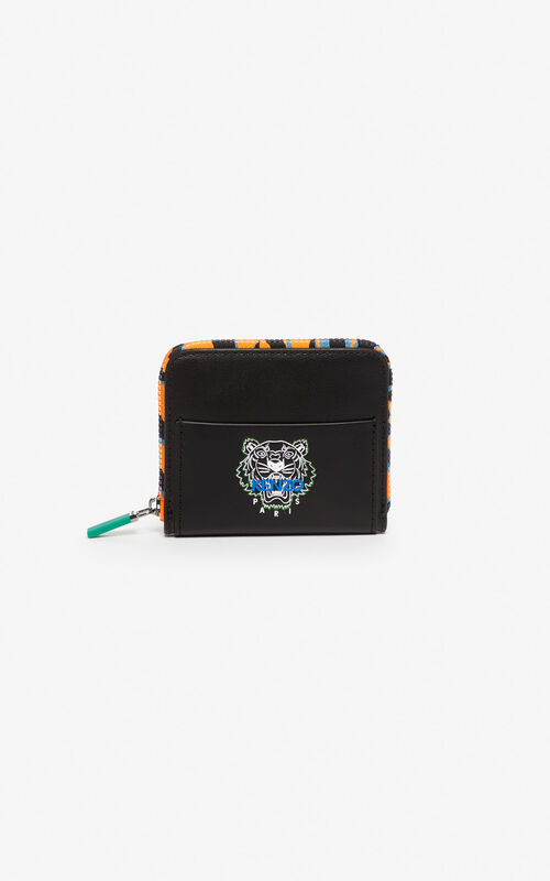 BLACK 'Tiny Tiger' leather wallet for unisex KENZO