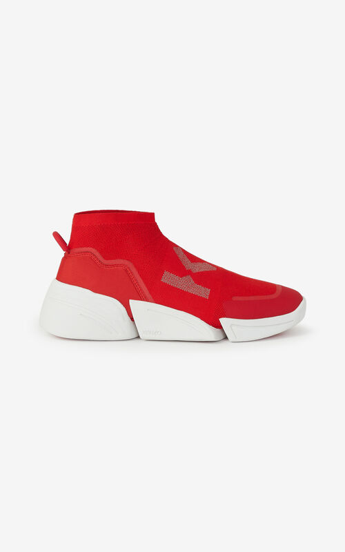 MEDIUM RED K-SOCK 'K Logo' lace-free sneakers for women KENZO