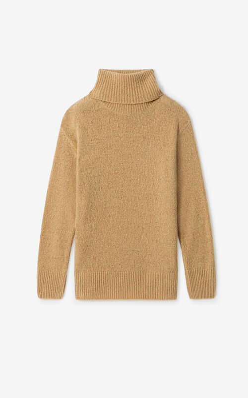 BEIGE Recycled cashmere roll neck jumper for unisex KENZO