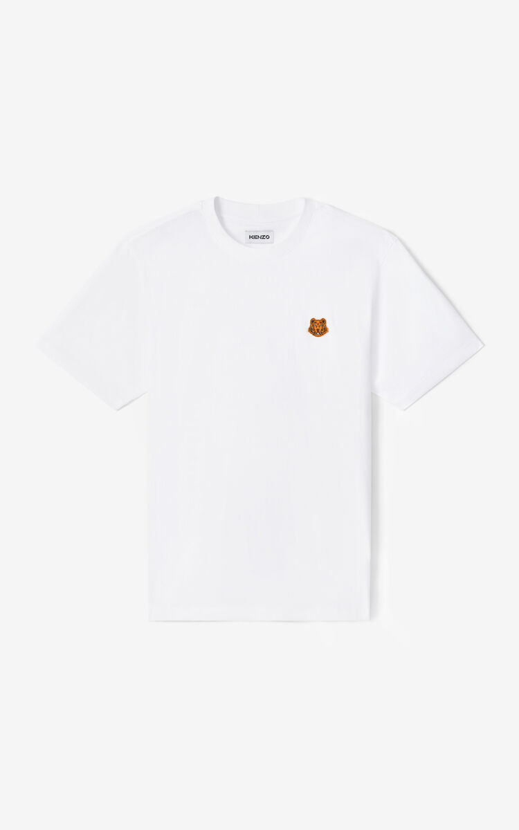 WHITE Tiger Crest t-shirt for men KENZO