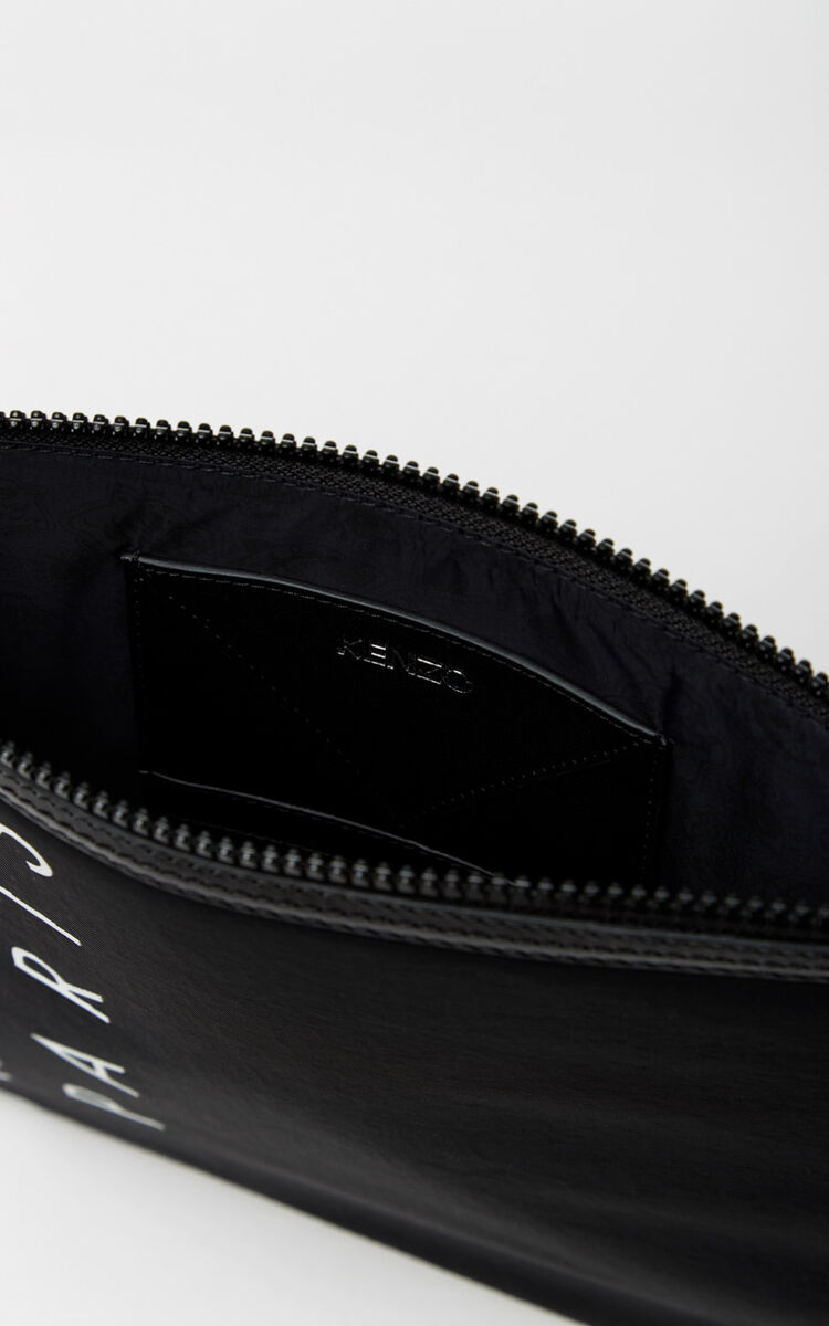 BLACK A4 KENZO Logo clutch for unisex